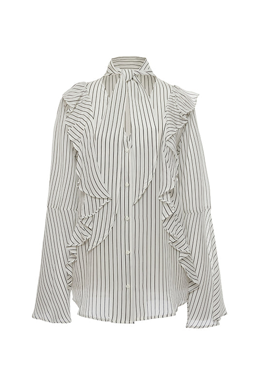 The Romantic Stripe Silk Ruffle Shirt in egg white with black stripes.