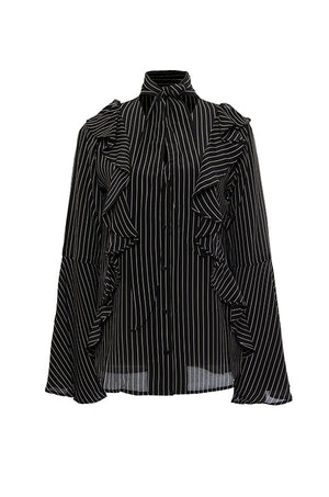 The Romantic Stripe Silk Ruffle Shirt in black with egg white stripes.