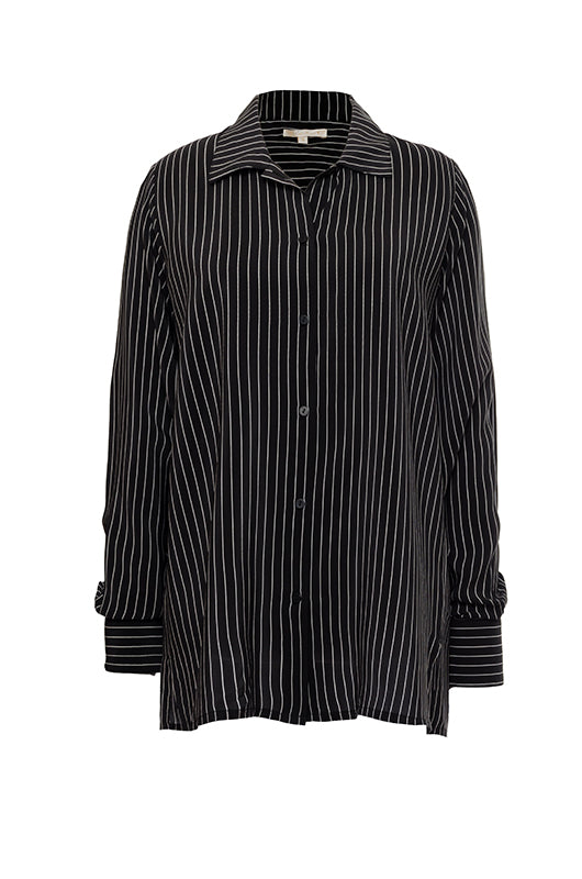 The Pin Stripe Long Sleeve Shirt in black.