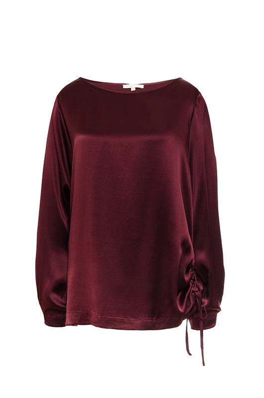 The Wide Sleeve Silk Top in burgundy.