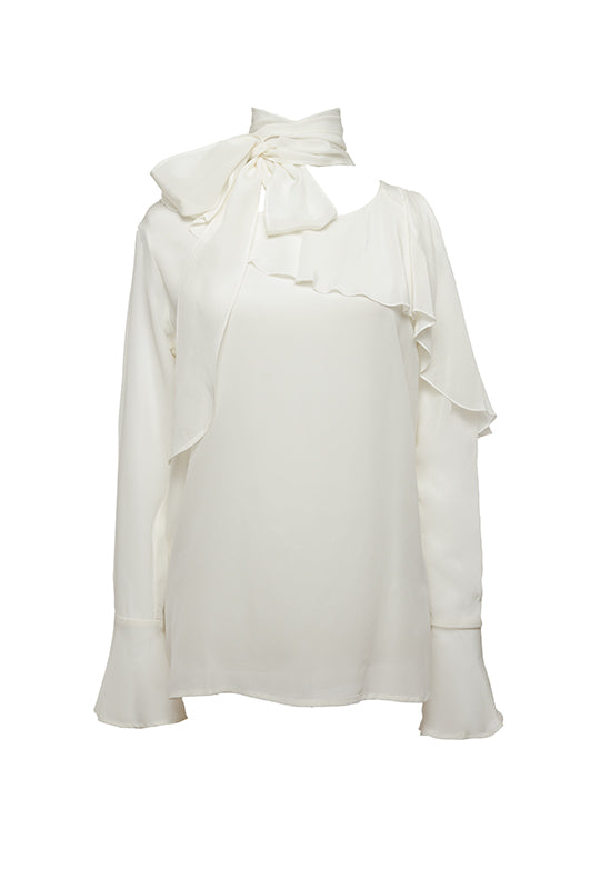 The Silk Ruffle Cold-Shoulder Top in egg white.