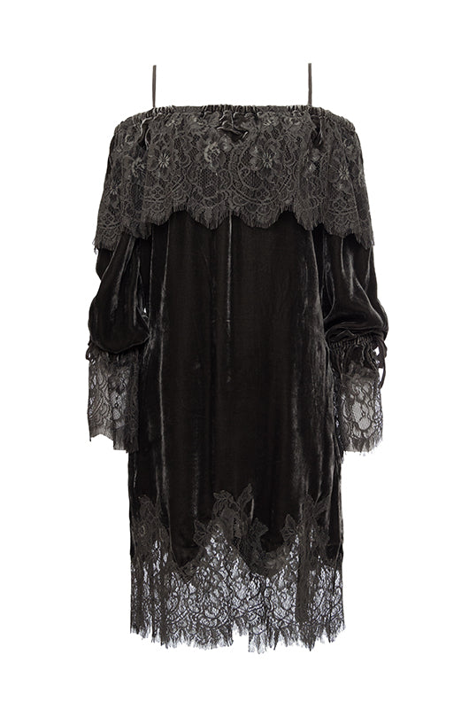 Sophia Lace Velvet Dress