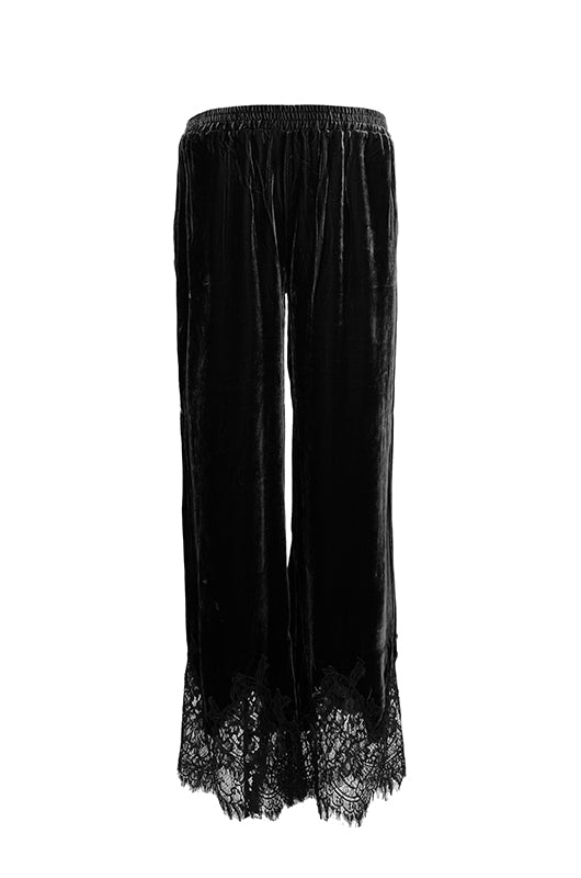 The Anastasia Lace Velvet Pant in black.
