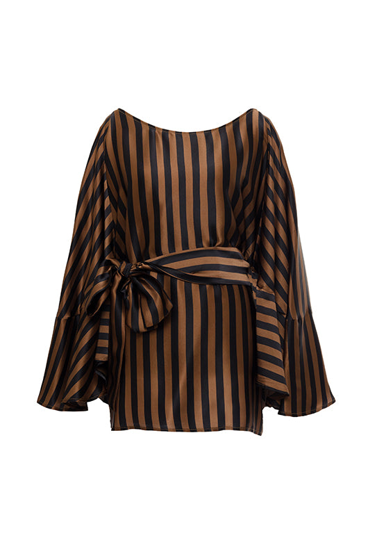 The Stripe Silk Batwing Top in black and tobacco stripes. Shown belted with matching sash.