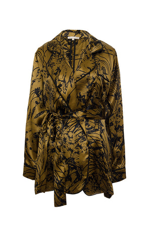 The Bronte Silk Robe in olive.