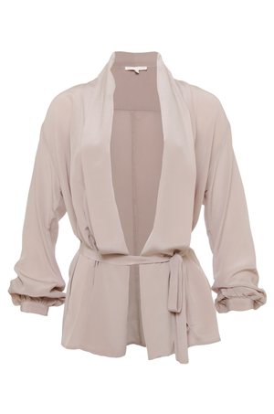 The Silk Crepe Jacket in sand shell.