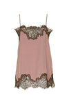 The Coco Lace Silk Straight Cami in rose with dirty olive lace.