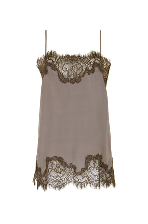 The Coco Lace Silk Straight Cami in stone grey with dirty olive lace.