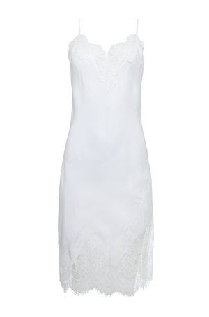 The Grace Lace Silk Dress in white.