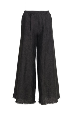 The Stripe Linen Flare Pants in black.