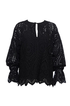 The Adele Cotton Oversized Top in black.