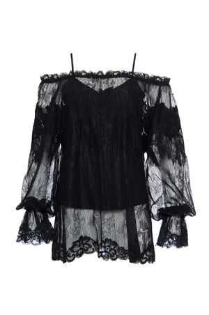 The Chantilly Peasant Lace Top in black.