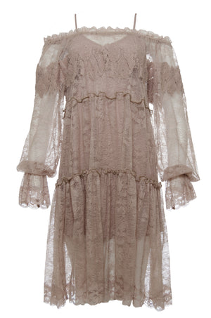 The Chantilly Peasant Lace Dress in sand shell.