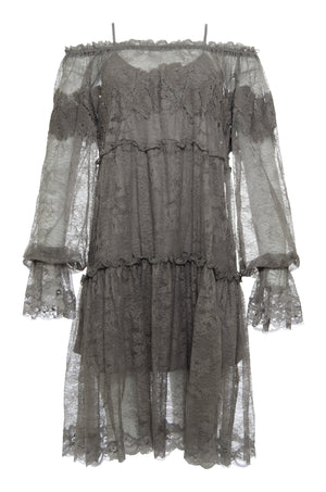 The Chantilly Peasant Lace Dress in steeple grey.