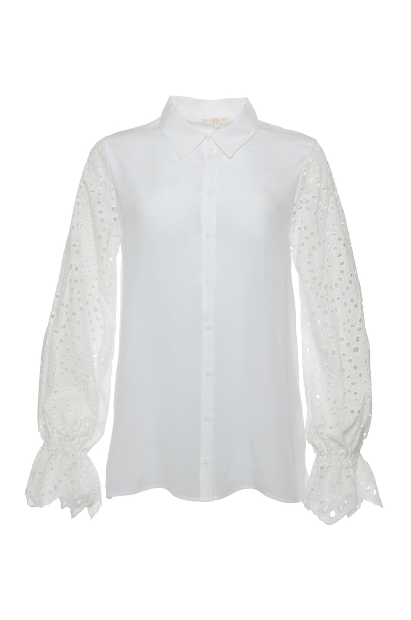 The Adele Sleeve Silk Shirt in white.