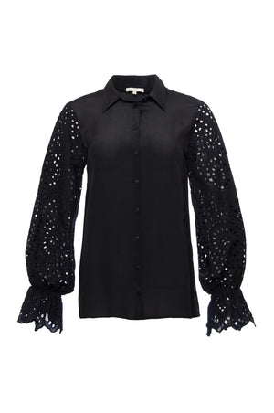 The Adele Sleeve Silk Shirt in black.