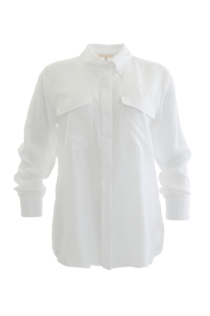 Th Habotai Pullover Silk Shirt in white.