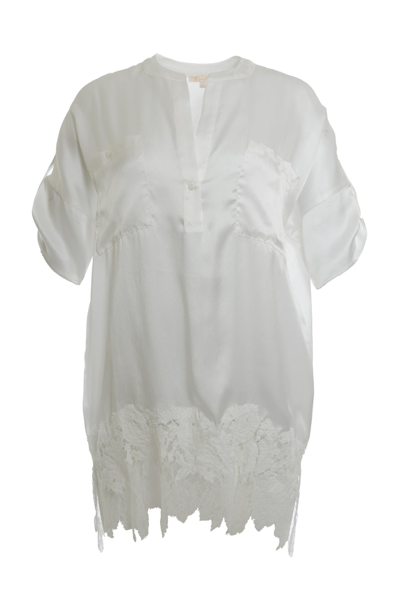 The Henley Hammered Silk Shirt in white.