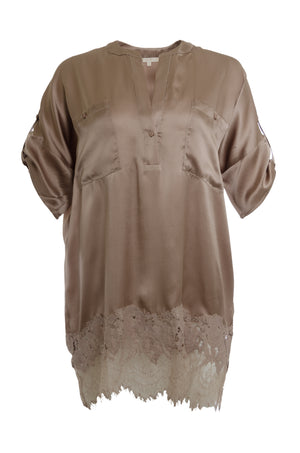 The Henley Hammered Silk Shirt in sand shell.