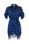The Hammered Silk Lace Dress in navy. Shown with matching sash as belt.