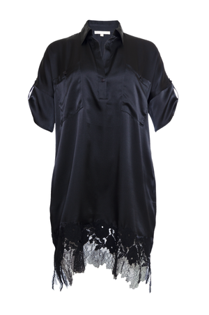The Hammered Silk Lace Dress in black.