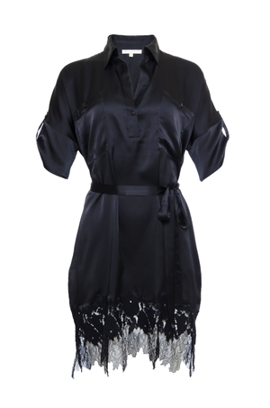 The Hammered Silk Lace Dress in black. Shown with matching sash as belt.