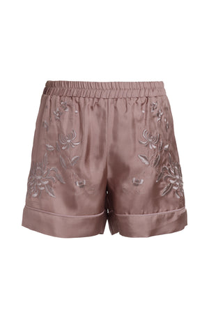 The Emily Embroidered Silk Shorts in rose taupe with rose taupe embroidery.