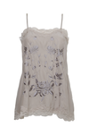 The Emily Embroidered Cami in birch with steeple grey and pewter embroidery.