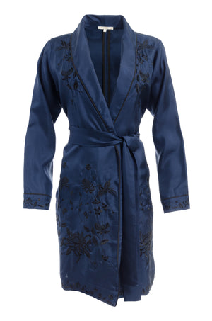 The Emily Embroidered Silk Duster in navy with black embroidery.