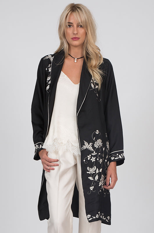 Emily Embroidered Silk Duster