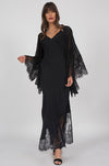 Model is wearing the Long Silk Lace Slip Dress in black with the Coco Silk Lace Kimono in black. Also worn with open toe, ankle strap, black high heels.