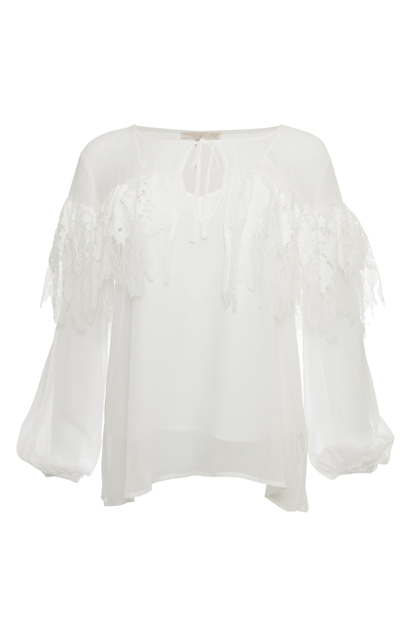 The Julia Lace Ruffle Silk Top in white.