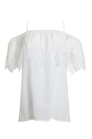 The Julia Lace Silk Off The Shoulder Top in white.