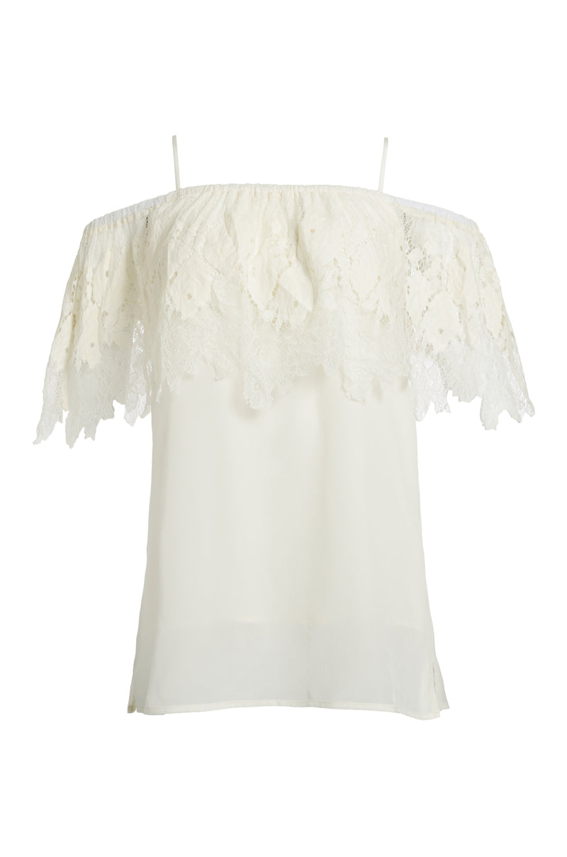 The Julia Lace Silk Off The Shoulder Top in dove.
