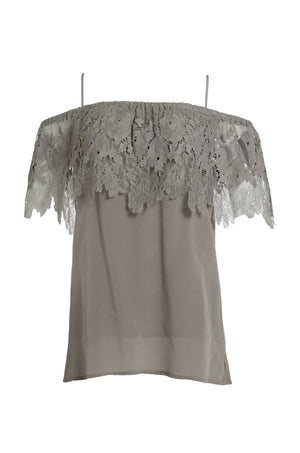 The Julia Lace Silk Off The Shoulder Top in steeple grey.
