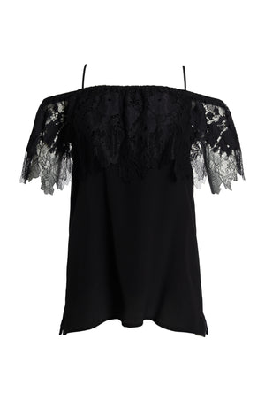 The Julia Lace Silk Off The Shoulder Top in black.