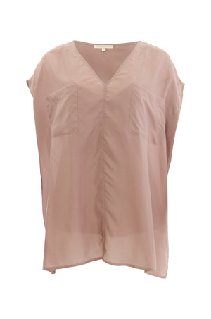 The Habotai Relaxed Silk Tee in rose taupe.