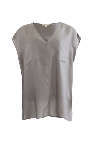 The Habotai Relaxed Silk Tee in steeple grey.