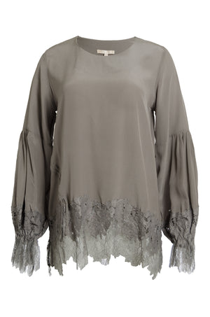The Romantic Lace Sleeve Silk Top in steeple grey.
