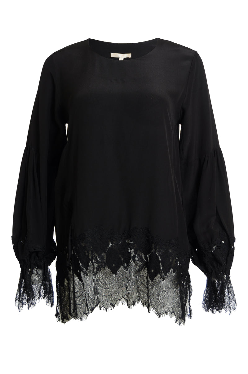 The Romantic Lace Sleeve Silk Top in black.