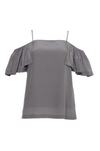 The Off- Shoulder Silk Cami Top in steeple grey.