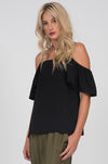 Model is wearing the Off-Shoulder Silk Cami Top in black, with the Hammered Silk Belted Pants in olive.