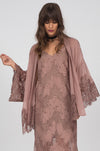 Model is wearing the Coco Silk Lace Kimono in rose taupe, opened, with the Suzy Zig Zag Lace Dress in rose taupe underneath.