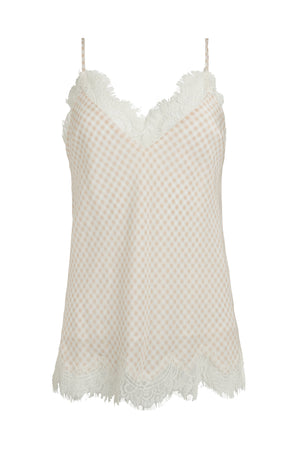 The Anne Marie Silk Cami in sand shell.