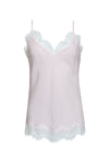 The Anne Marie Silk Cami in ballerina pink/off white.