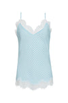 The Anne Marie Silk Cami in baby blue/off white.
