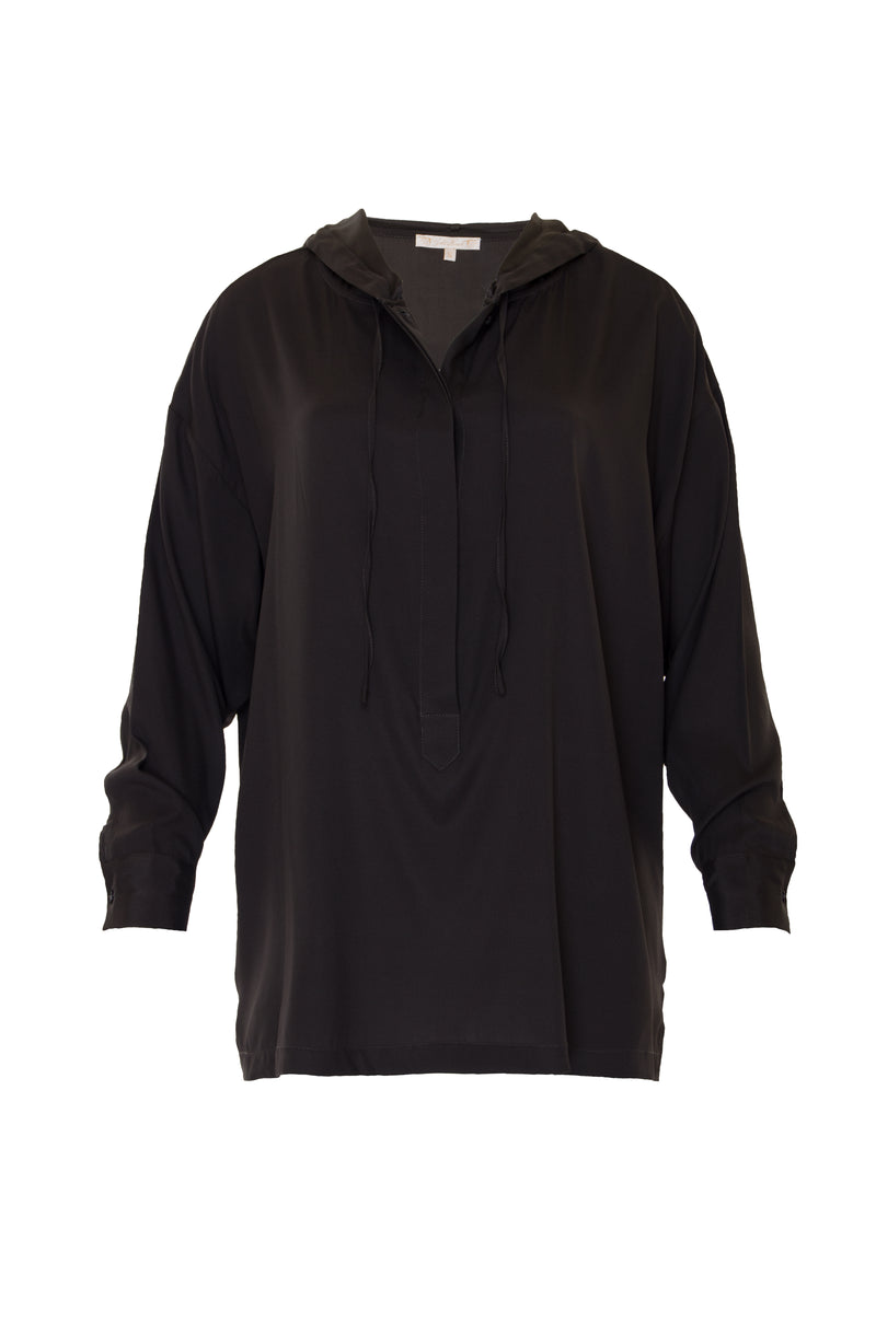 The Silk Hoodie Top in black.