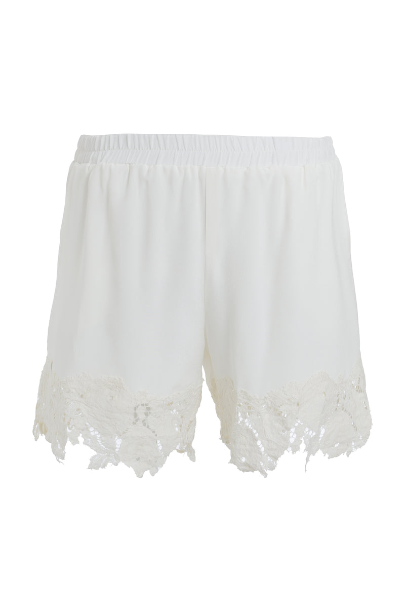 The Julia Lace Silk Shorts in dove.