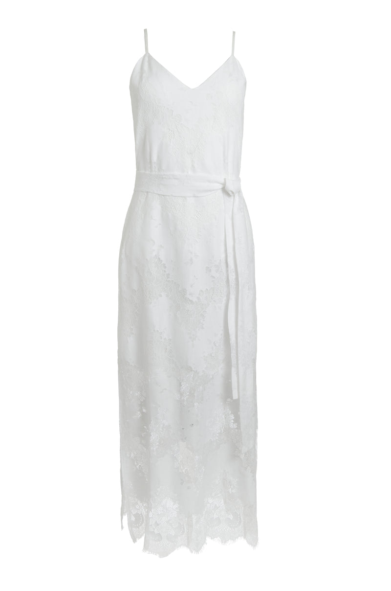 The Suzy Zig Zag Lace Dress in white.
