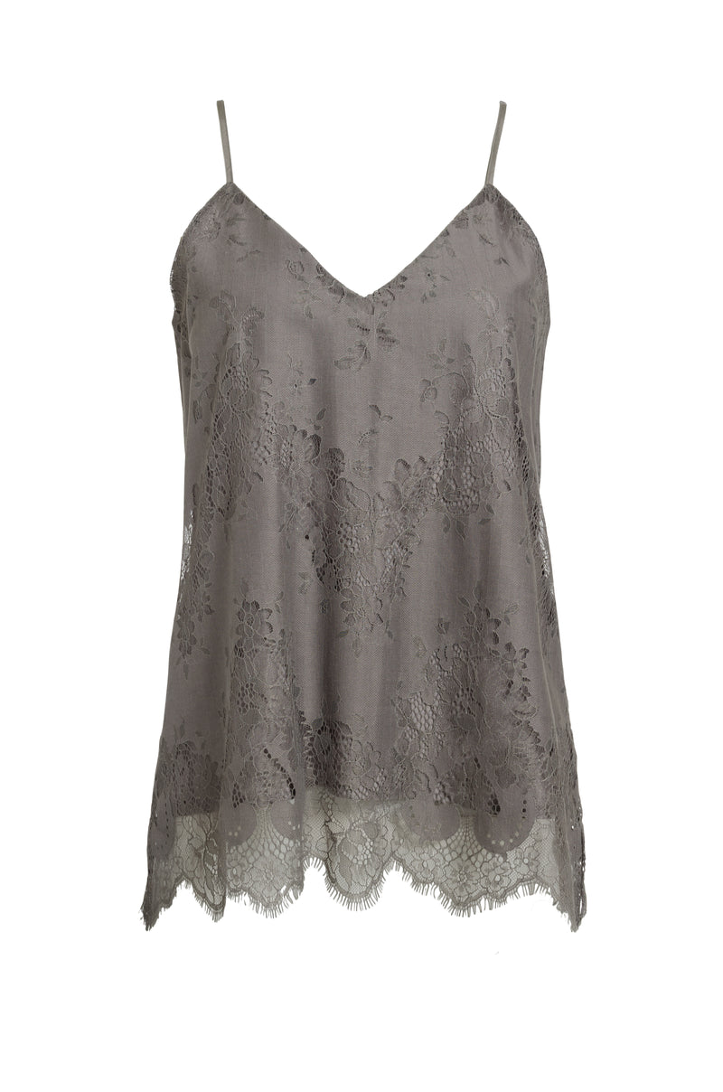 The Suzy Zig Zag Lace Cami in steeple grey.